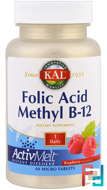 Folic Acid Methyl B-12, ActivMelt, Raspberry, KAL, 60 Micro Tablets