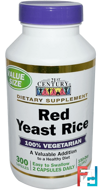 Red Yeast Rice, 21st Century, 300 Capsules