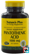 Pantothenic Acid, Nature's Plus, 1000 mg, 60 Tablets