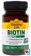 Biotin, Country Life, 1 mg, 100 Tablets