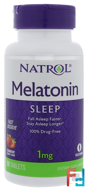 Melatonin, Strawberry Flavor, Natrol, 1 mg, 90 Tablets