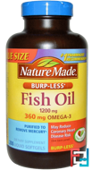 Fish Oil, Burp-Less, Nature Made, 1200 mg, 200 Liquid Softgels