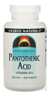 Pantothenic Acid, Vitamin B-5, 250 mg, Source Naturals, 250 Tablets