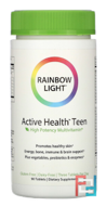 Active Health Teen with Derma Complex, Food-Based Multivitamin, Rainbow Light, 90 Tablets