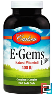 E-Gems Elite, Natural Vitamin E, Carlson Labs, 400 IU, 240 Soft Gels