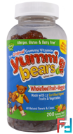 Yummi Bears, Wholefood Fruit + Veggie, Hero Nutritional Products, 200 Gummy Bears