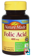 Folic Acid, Nature Made, 400 mcg, 250 Tablets