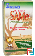 The Original SAMe (S-Adenosyl-L-Methionine), 200 mg, NutraLife, 60 Enteric Coated Tablets