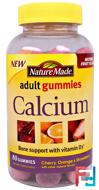 Nature Made, Adult Gummies, Calcium with Vitamin D3, Natural Fruit Flavors, 80 Gummies