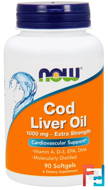 Cod Liver Oil, 1,000 mg, Now Foods, 90 Softgels