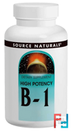 B-1, High Potency, 500 mg, Source Naturals, 100 Tablets