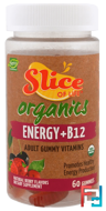 Slice of Life, Organics, Energy + B12, Adult Gummy Vitamins, Natural Berry Flavors, Hero Nutritional Products, 60 Gummies