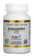 Astaxanthin, Triple-Strength, Natural, U.S. Sourced & Made, No GMOs, CGN, California Gold Nutrition, 12 mg, 30 Veggie Softgels