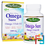 Med Vita, Omega Sure, Omega-3 Fish Oil, 1000 mg, Paradise Herbs, 30 Liquid Vgels
