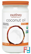 Organic Coconut Oil, Refined, Nutiva, 23 fl oz (680 ml)
