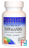 Planetary Herbals, Full Spectrum, Ashwagandha, 570 mg, 60 Tablets