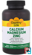 Calcium Magnesium Zinc, Country Life, 250 Tablets