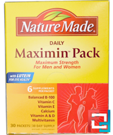 Daily Maximin Pack, Multivitamin and Mineral, 6 Supplements Per Packet, Nature Made, 30 Packets