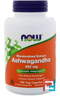 Ashwagandha, Now Foods, 450 mg, 180 Veg Capsules