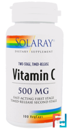 Vitamin C, Two-Stage Timed-Release, Solaray, 500 mg, 100 VegCaps