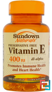 Vitamin E, 400 IU, Sundown Naturals, 100 Softgels