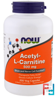 Acetyl-L Carnitine, Now Foods, 500 mg, 200 Vcapsules
