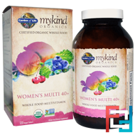 Organic Women's Multi 40+, Whole Food Multivitamin, Garden of Life, 120 Vegan Tablets