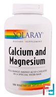 Calcium and Magnesium, Solaray, 180 Veggie Caps