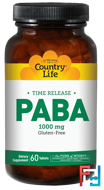 PABA, Time Release, Country Life, 1000 mg, 60 Tablets