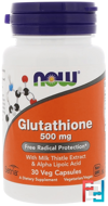 Glutathione, Now Foods, 500 mg, 30 Veg Capsules