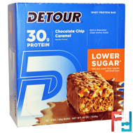 Whey Protein Bar, Chocolate Chip Caramel, Detour, 12 Bars, 3 oz (85 g) Each