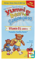 Yummi Bears, Vitamin D3, Sugar Free, Fruit Flavors, Hero Nutritional Products, 1000 IU, 60 Gummy Bears