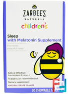 Children's, Sleep with Melatonin Supplement, Natural Grape, Zarbee's, 1 ml, 30 Chewable Tablets