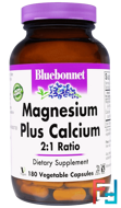 Magnesium Plus Calcium, 2:1 Ratio, Bluebonnet Nutrition, 180 Veggie Caps