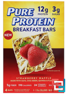 Breakfast Bars, Strawberry Waffle, Pure Protein, 4 Bars, 1.76 oz (50 g) Each