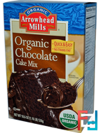 Organic Chocolate Cake Mix, Arrowhead Mills, 18.6 oz (526 g)