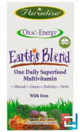 ORAC-Energy, Earth's Blend, One Daily Superfood Multivitamin, With Iron, Paradise Herbs, 60 Veggie Caps
