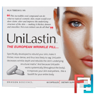 UniLastin, The European Wrinkle Pill, Erikson Bioscience, 60 Capsules