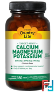 Calcium, Magnesium, and Potassium, Country Life, 500 mg : 500 mg : 99 mg, 180 Tablets