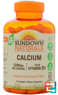 Liquid-Filled Calcium, Plus Vitamin D3, 1200 mg/1000 IU, Sundown Naturals, 170 Softgels