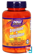Arginine & Citrulline, Now Foods, Sports, 500 mg /250 mg, 120 Veg Capsules