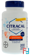 Calcium Supplement +D3, Petites, Citracal, 200 Coated Caplets