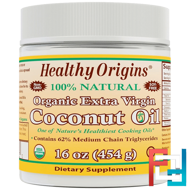 Organic Extra Virgin Coconut Oil, Healthy Origins, 16 oz (454 g)