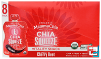 Organic Chia Squeeze, Vitality Snack, Cherry Beet, 8 Pouches, Mamma Chia, 3.5 oz (99 g) Each