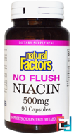 No Flush Niacin, 500 mg, Natural Factors, 90 Capsules