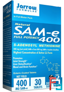 Natural  SAM-e (S-Adenosyl-L-Methionine) 400, Jarrow Formulas, 400 mg, 30 Enteric-Coated Tablets