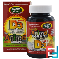 Source of Life, Animal Parade, Vitamin D3, Sugar Free, Natural Black Cherry Flavor, Nature's Plus, 500 IU, 90 Animals