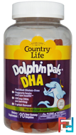 Country Life, Dolphin Pals, DHA, 3 Great Flavors, 90 Sour Gummy Dolphins