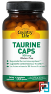 Taurine Caps, Country Life, 500 mg, 100 Vegan Caps