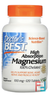 High Absorption Magnesium, Doctor's Best, 100% Chelated, 120 Tablets